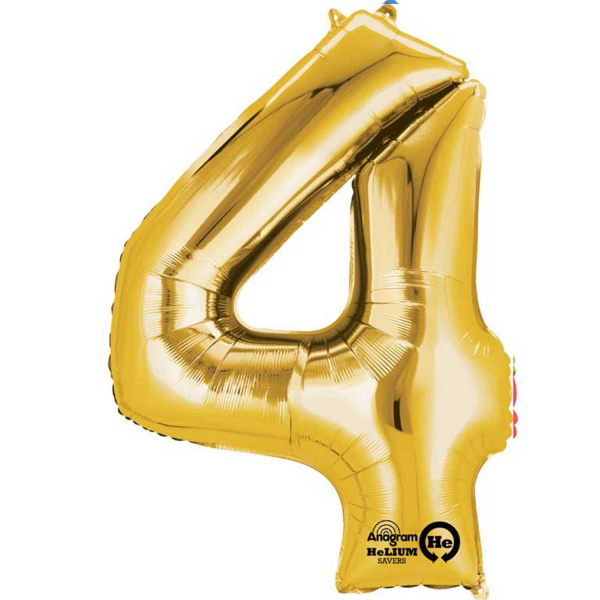 Gold Number 4 Mini Foil Balloon 16 Quot Air Free Delivery