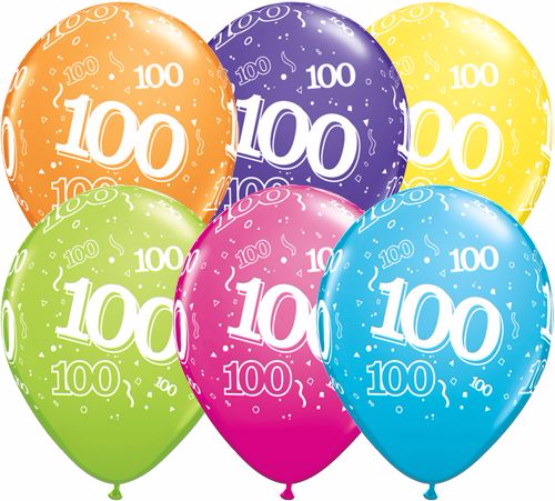 11 Landmark 100 Birthday Latex Balloons Price Per 25 Pieces Sold Flat Assorted Colours