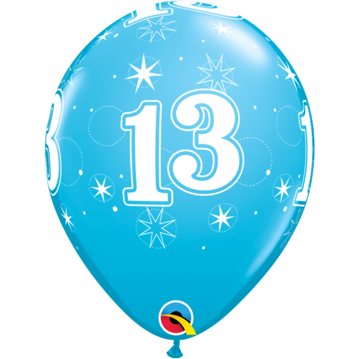 13th Birthday Latex Balloons Blue 13