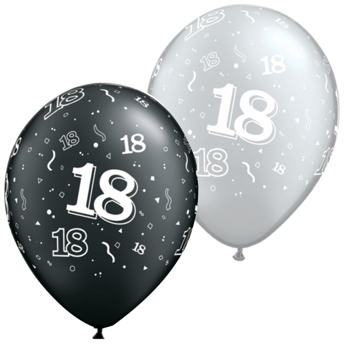 Black And Silver 18th Balloons
