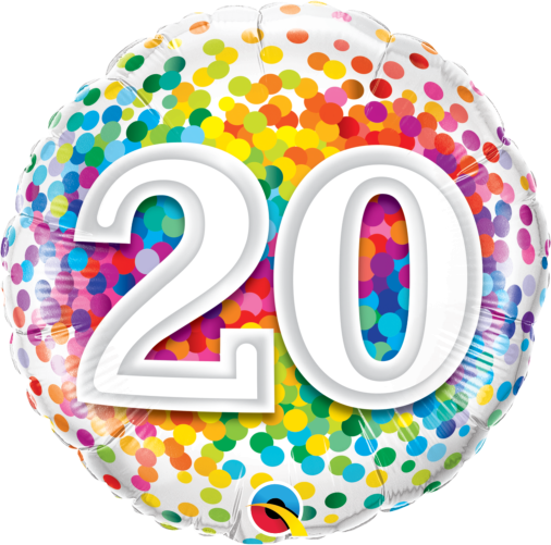 20th Birthday London: 20 Rainbow Confetti Foil Balloon