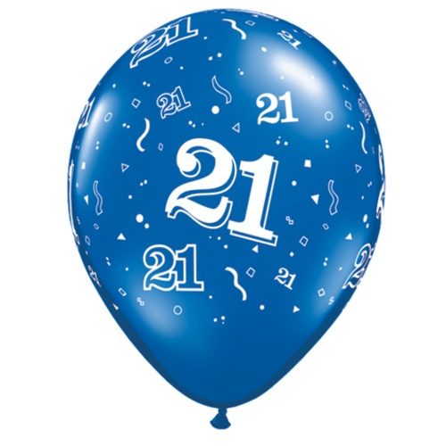 11 Age 21 Blue Birthday Latex Balloons Price Per 25 Pieces Sold Flat