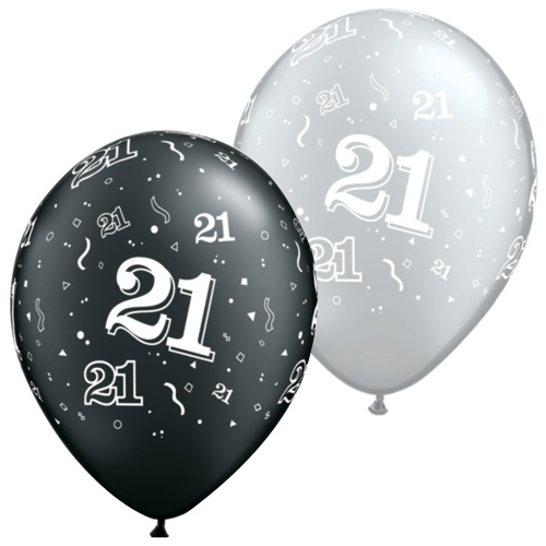 Black And Silver 21st Balloons