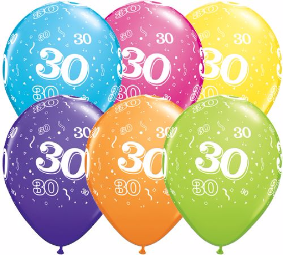 11 Landmark 30 Birthday Latex Balloons Price Per 25 Pieces Sold Flat Assorted Colours