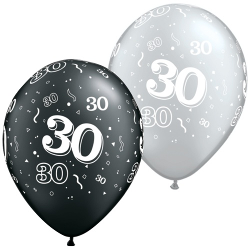 Black And Silver 30th Balloons