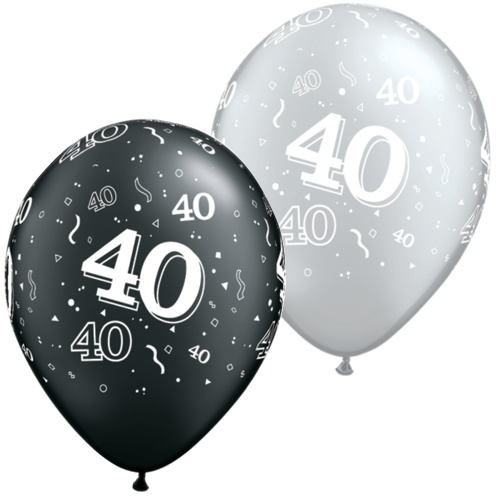 Black And Silver 40th Balloons