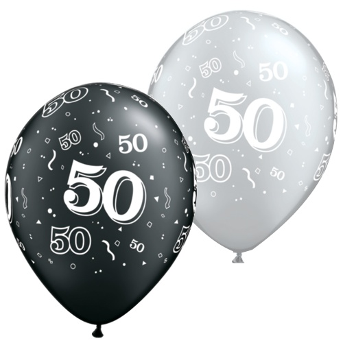 Black And Silver 50th Balloons