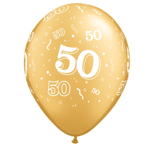 50th Gold Balloons