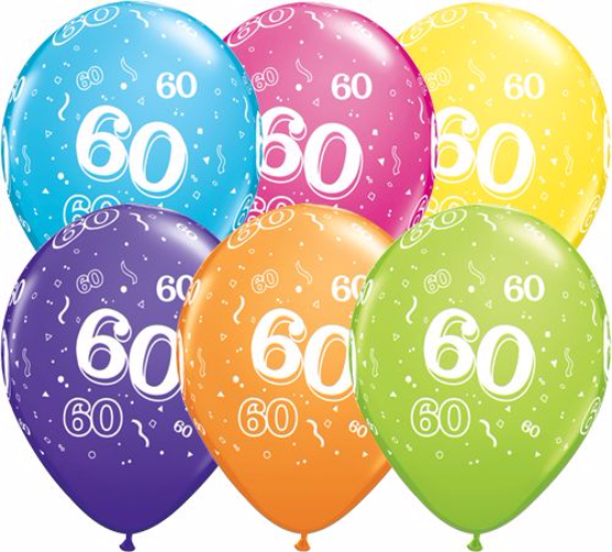 11 Landmark 60 Birthday Latex Balloons Price Per 25 Pieces Sold Flat Assorted Colours
