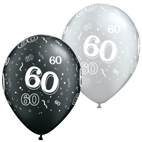 Black And Silver 60th Balloons