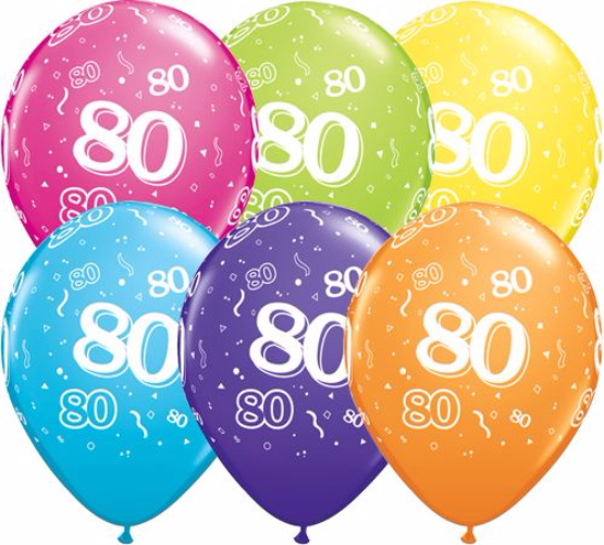 11 Landmark 80 Birthday Latex Balloons Price Per 25 Pieces Sold Flat Assorted Colours