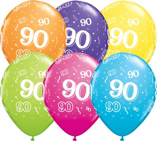 90th Birthday Latex Balloons Age 90