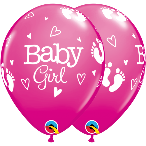baby girl footprints hearts balloons baby girl balloons