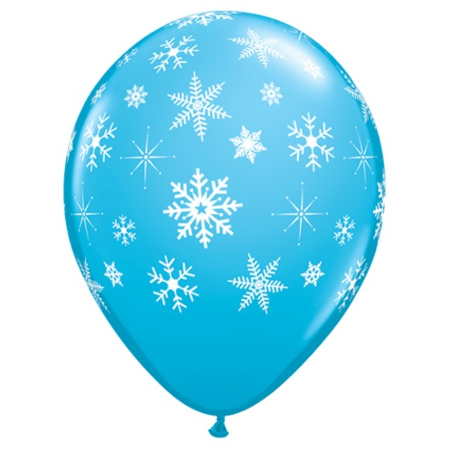 Winter Christmas Or Frozen Latex Balloons Snowflakes