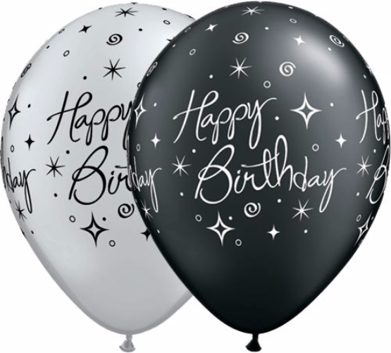 Black And Silver Sparkles Birthday Balloons