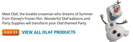Disney Frozen Olaf Party Plates, Olaf Party Cups & Olaf Napkins plus Olaf Party Decorations and Olaf Balloons & Olaf Party Bags for the perfect Olaf Party.